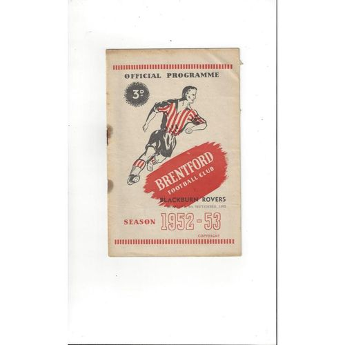 1952/53 Brentford v Blackburn Rovers Football Programme