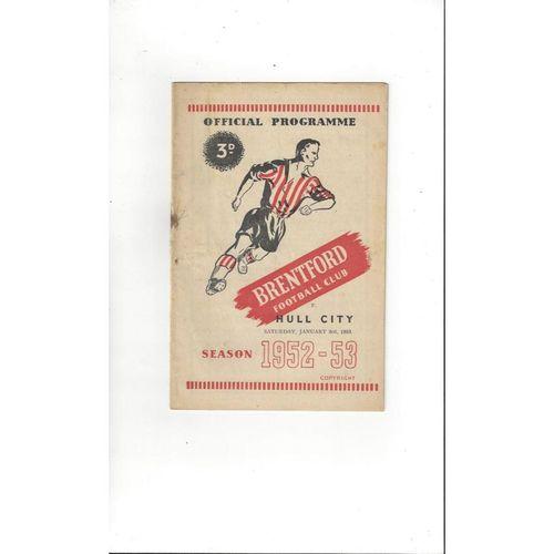 1952/53 Brentford v Hull City Football Programme