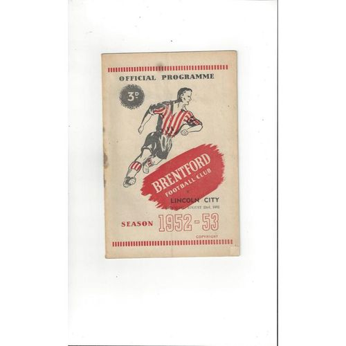 1952/53 Brentford v Lincoln City Football Programme