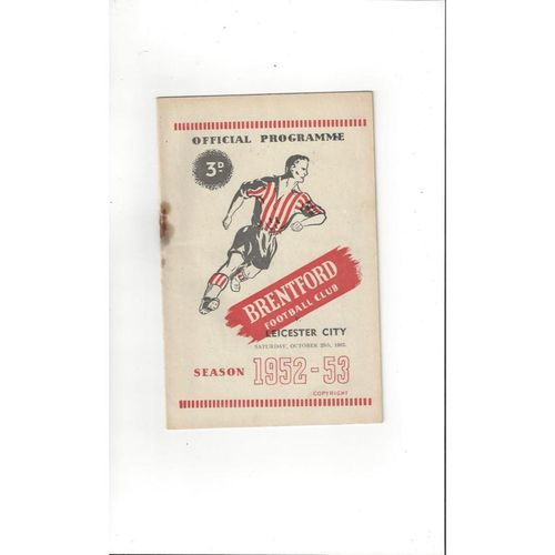 1952/53 Brentford v Leicester City Football Programme