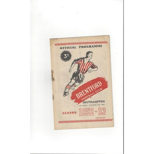 1952/53 Brentford v Southampton Football Programme