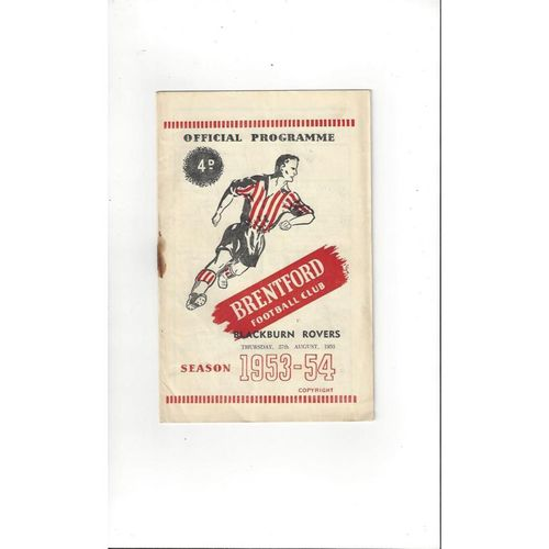 1953/54 Brentford v Blackburn Rovers Football Programme
