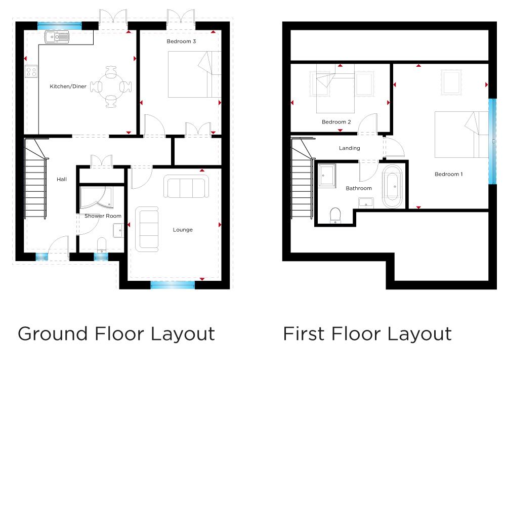 58m 190 X 38m 124 Guest Shower Room Landing Bedroom Two 39m 128 27m 88 Three 42m 137 32m 105 Family Bathroom