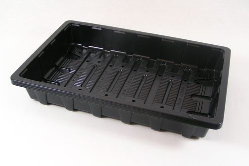 Black plastic seed starting trays full standard size