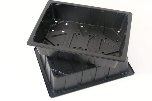 Black plastic seed starting trays half size