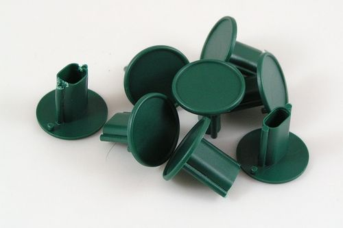Garden cane cap toppers fit up to 10mm canes green plastic