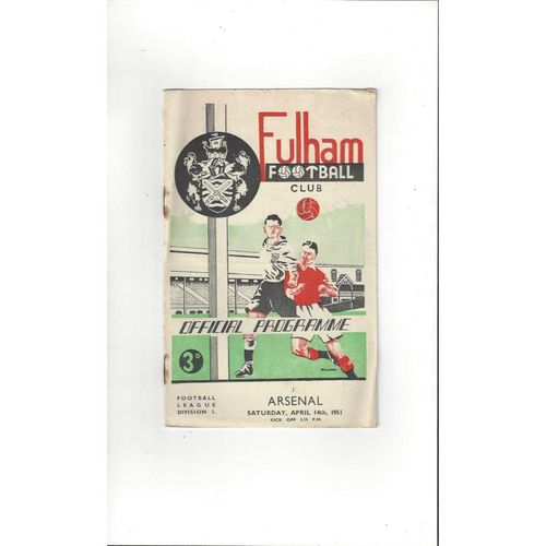 1950/51 Fulham v Arsenal Football Programmes