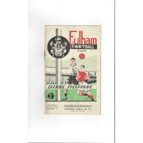 1950/51 Fulham v Middlesbrough Football Programme