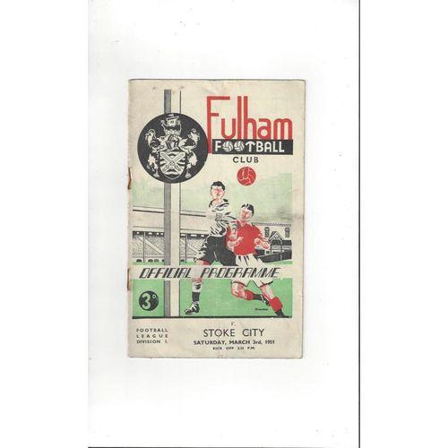 1950/51 Fulham v Stoke City Football Programme
