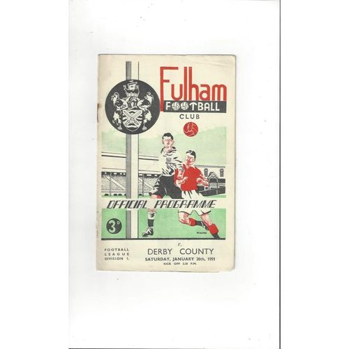 1950/51 Fulham v Derby County Football Programme