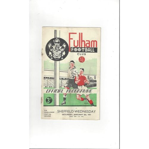 1950/51 Fulham v Sheffield Wednesday FA Cup Football Programme