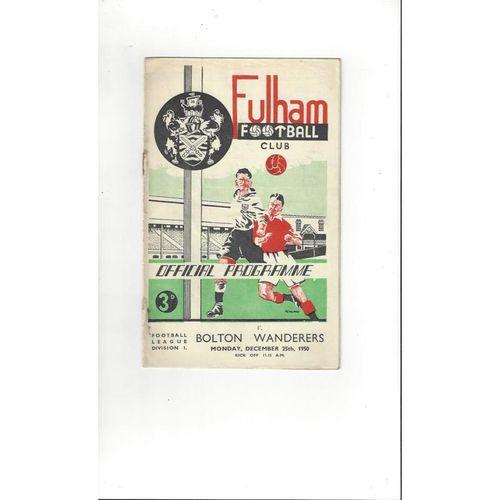 1950/51 Fulham v Bolton Wanderers Football Programme