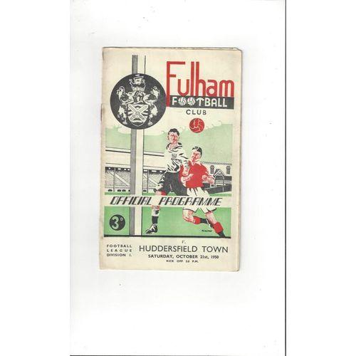 1950/51 Fulham v Huddersfield Town Football Programme