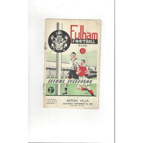 1950/51 Fulham v Aston Villa Football Programmes
