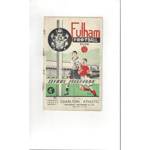 1951/52 Fulham v Charlton Athletic Football Programme