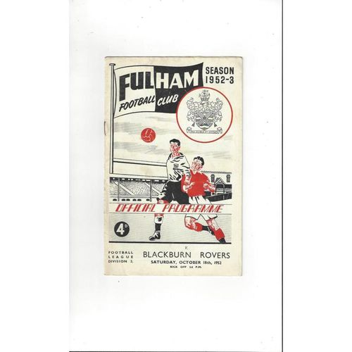 1952/53 Fulham v Blackburn Rovers Football Programme