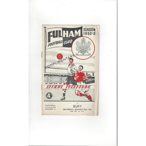 1952/53 Fulham v Bury Football Programme