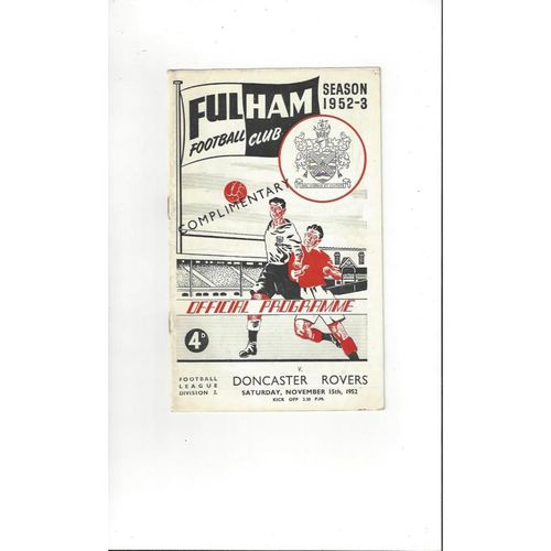 1952/53 Fulham v Doncaster Rovers Football Programme