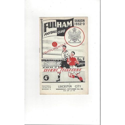 1952/53 Fulham v Leicester City Football Programme