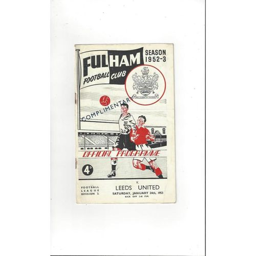 1952/53 Fulham v Leeds United Football Programme