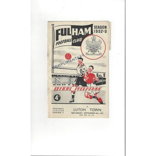 1952/53 Fulham v Luton Town Football Programme