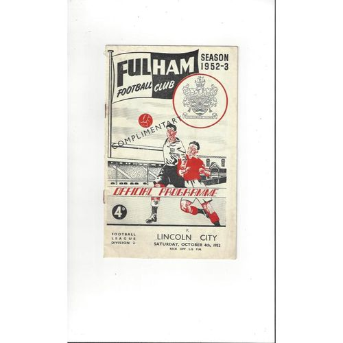 1952/53 Fulham v Lincoln City Football Programme