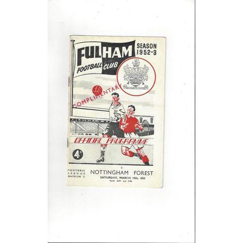 1952/53 Fulham v Nottingham Forest Football Programme