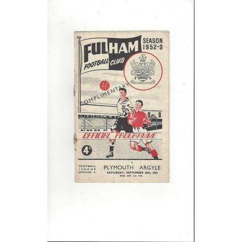 1952/53 Fulham v Plymouth Argyle Football Programme