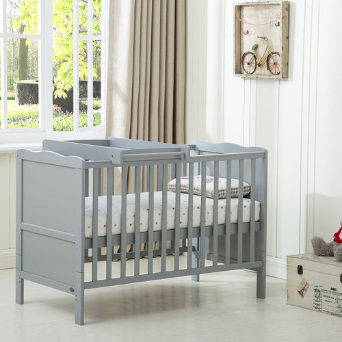 Orlando Cot Bed with Top Changer & With Mattress (GREY)