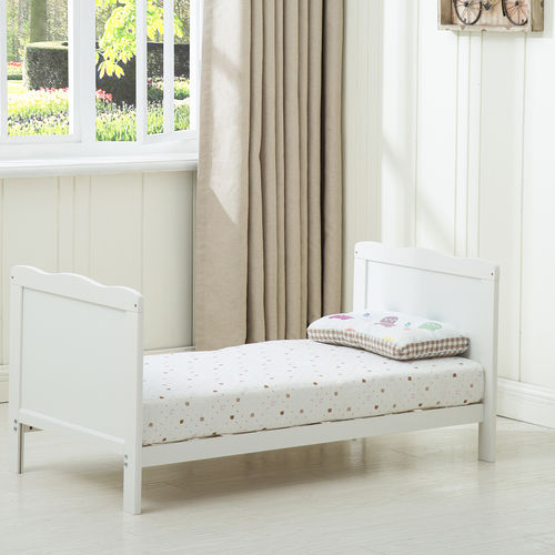 Florida Cot Bed with Top Changer and 140x70 Mattress (White)
