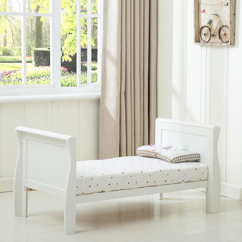 Savannah City Sleigh Cot Bed With 140x70 Mattress (White)