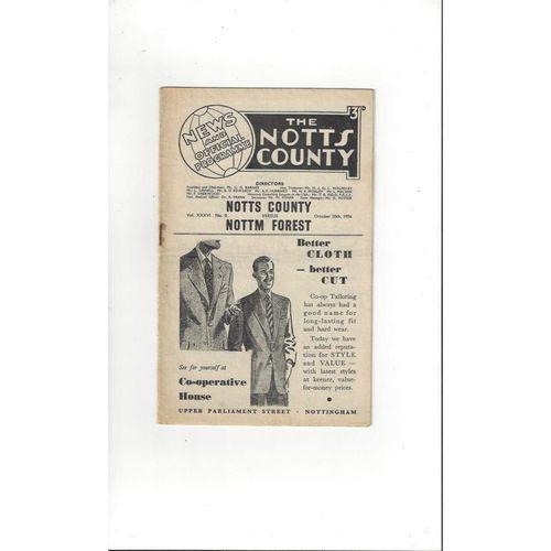1956/57 Notts County v Nottingham Forest Football Programme