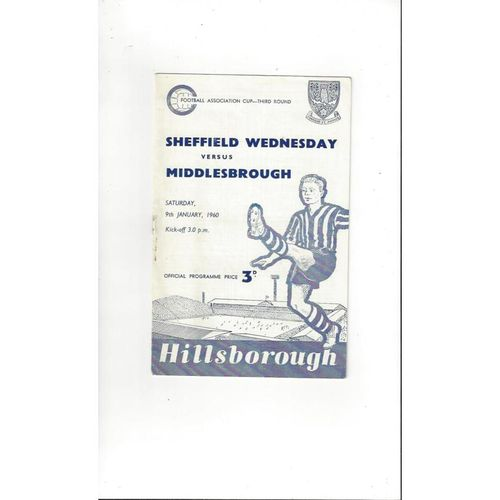 1959/60 Sheffield Wednesday v Middlesbrough FA Cup Football Programme