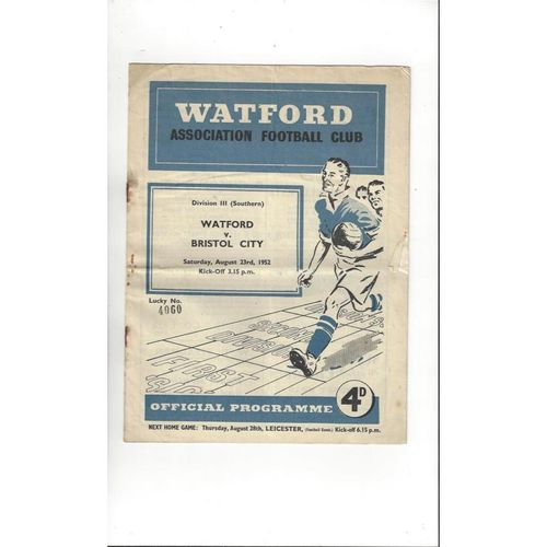 1952/53 Watford v Bristol City Football Programme