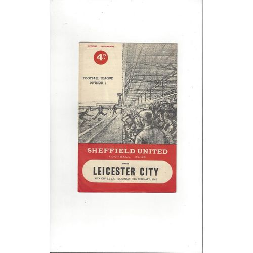 1961/62 Sheffield United v Leicester City Football Programme