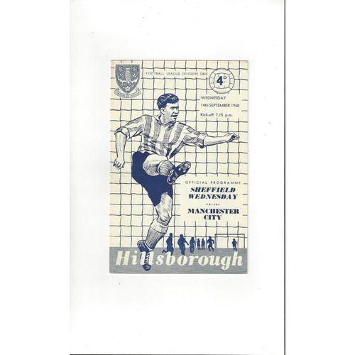 1960/61 Sheffield Wednesday v Manchester City Football Programme