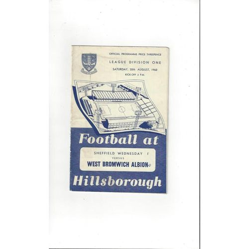 1960/61 Sheffield Wednesday v West Bromwich Albion Football Programme