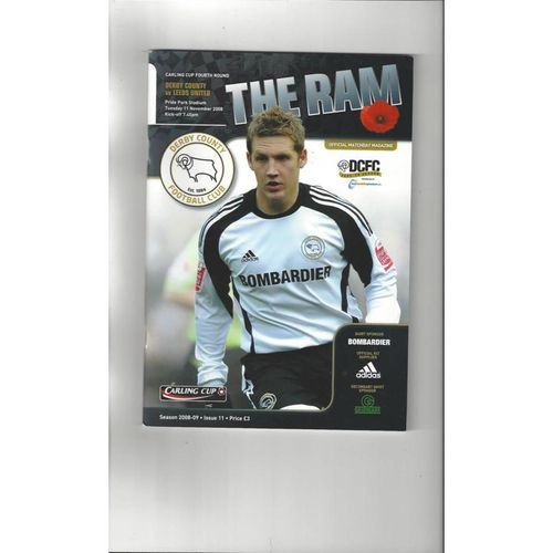 2008/09 Derby County v Leeds United League Cup Football Programme