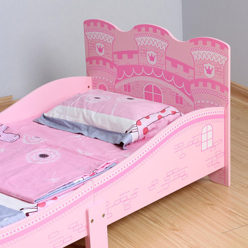 Girls Pink Castle Princess Toddler Bed With Mattress