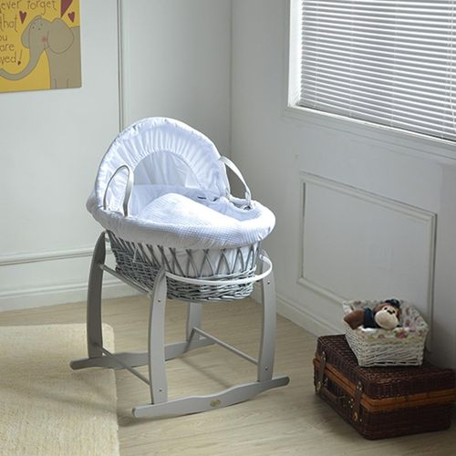 Deluxe Grey Wicker Moses Basket With Mattress,Bedding sets,and Rocking Stand