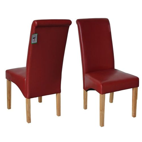Lucy Faux Leather Dining Chairs Roll Top Scroll High Back  (RED)