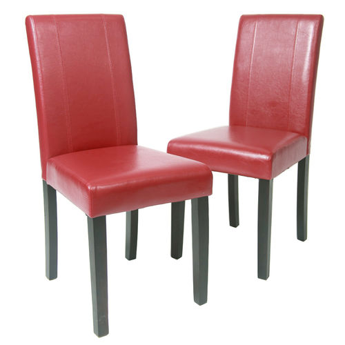 Levi Faux Leather Dining Chairs (Red)