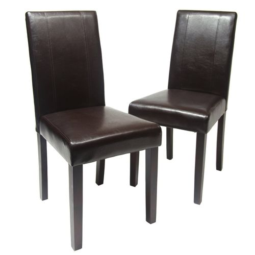 Levi Faux Leather Dining Chairs (Brown )
