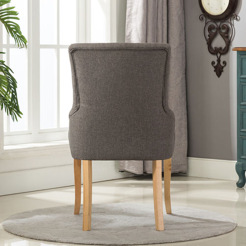 Adele Fabric Accent Chair Dining Chair Scoop Back (Grey)