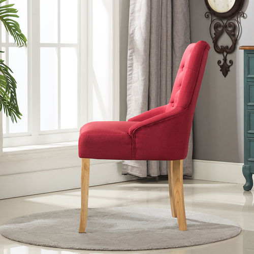 Adele Fabric Accent Chair Dining Chair Scoop Back (Red)