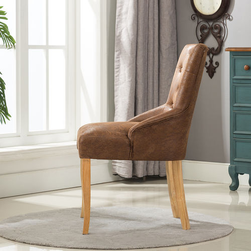 Adele Fabric Accent Chair Dining Chair Scoop Back (Brown)