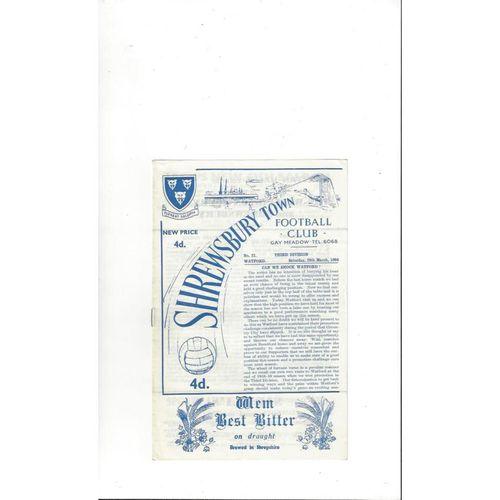 1963/64 Shrewsbury Town v Watford Football Programme