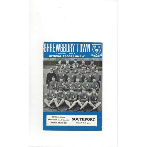 1967/68 Shrewsbury Town v Southport Football Programme