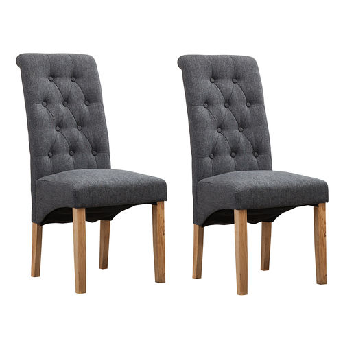 Fey Lined Fabric Dining Chairs Roll Top Scroll High Back (Grey)