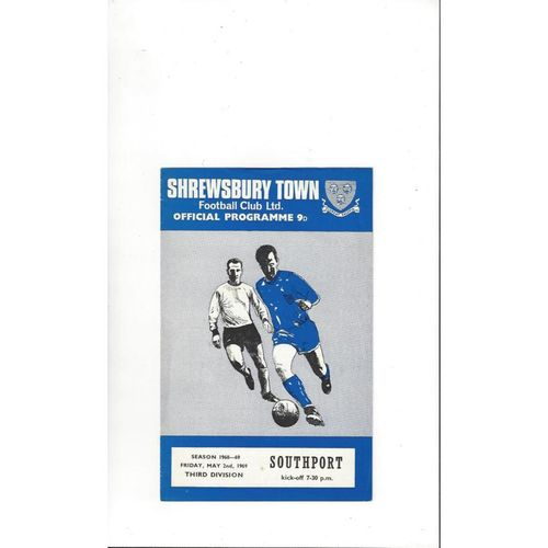 1968/69 Shrewsbury Town v Southport Football Programme
